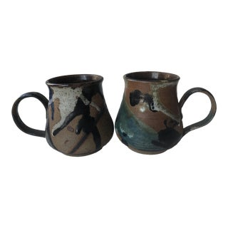 Mid-Century Signed Guenther Studio Pottery Mugs - a Pair For Sale