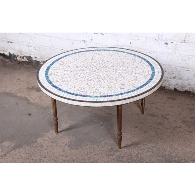 Italian Mid-Century Modern Mosaic Tile and Brass Cocktail Table, 1950s For Sale - Image 10 of 10