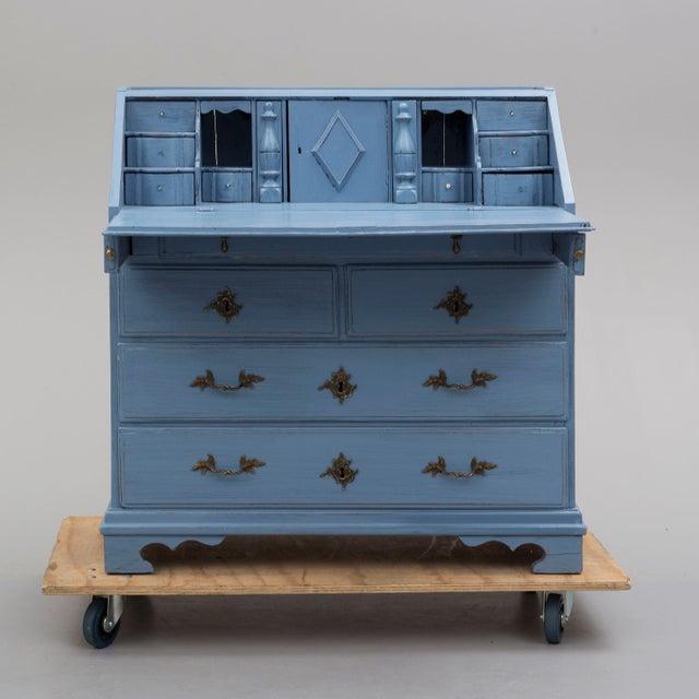 19th Century Swedish Blue Secretaire Desk For Sale - Image 4 of 10