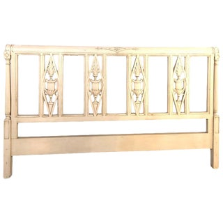Paint Decorated Designer Swedish Style King Size Carved Bed Headboard For Sale