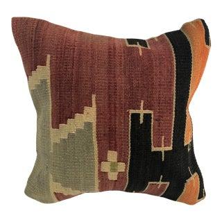 Turkish Handmade Antique Decorative Kilim Pillow For Sale