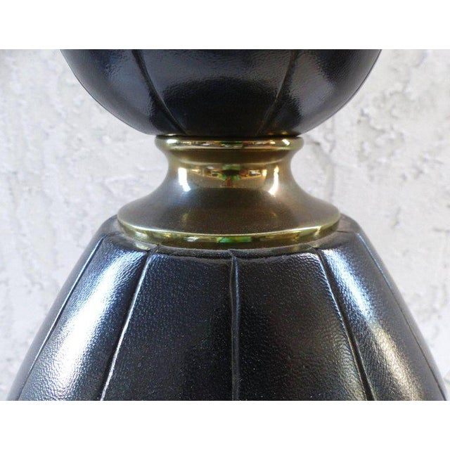 Mid-Century Modern Elegant and Unusual 1940s Leather and Brass Table Lamp For Sale - Image 3 of 10