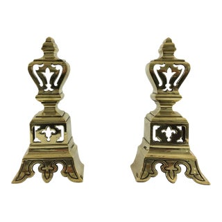 Henry IV Brass Andirons - A Pair For Sale