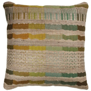 Indian Handwoven Pillow in Orange, Green, Brown, Blue and Beige For Sale
