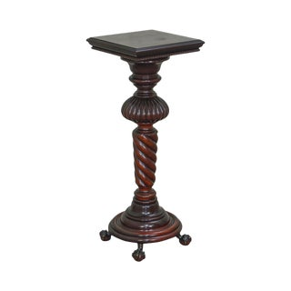 Rj Horner & Co. Labeled Antique Victorian Mahogany Spiral Turned Claw Foot Pedestal For Sale