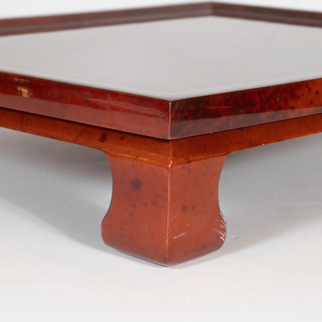 Mid-Century Modern Enrique Garcel Mid-Century Modern Lacquered Goatskin Pagoda Style Bar Tray For Sale - Image 3 of 10