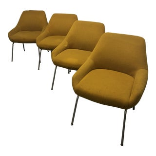 Mid-Century Golden Upholstered Chrome Chairs - Set of 4 For Sale