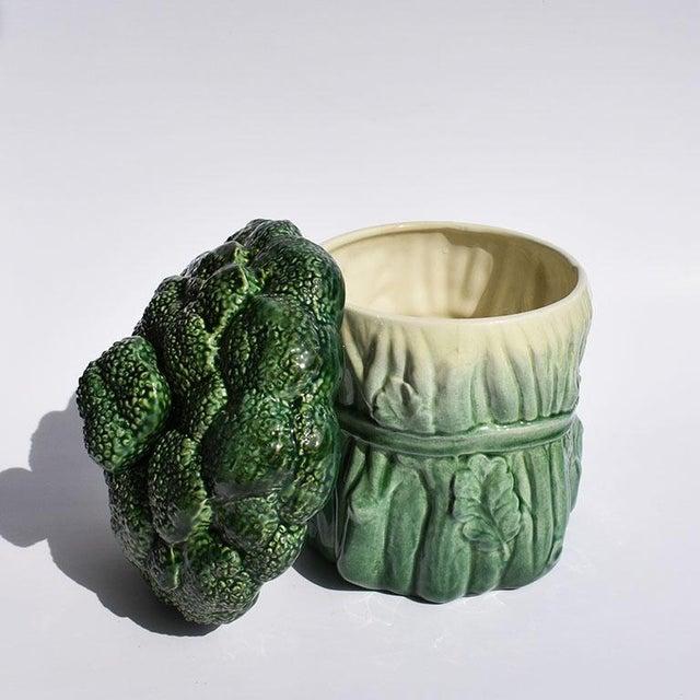 Mid 20th Century Mid Century Modern Ceramic Green Vegetable Broccoli Trompe L'oeil Cookie Jar For Sale - Image 5 of 7