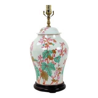 1970s Famille Rose Porcelain Temple Jar Lamp For Sale
