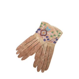 Native American Antique Leather & Beads Gloves - a Pair For Sale