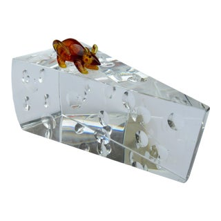 Crystal Glass Swiss Cheese-Shaped Wedge With Amber Glass Mouse Decorative Accent For Sale