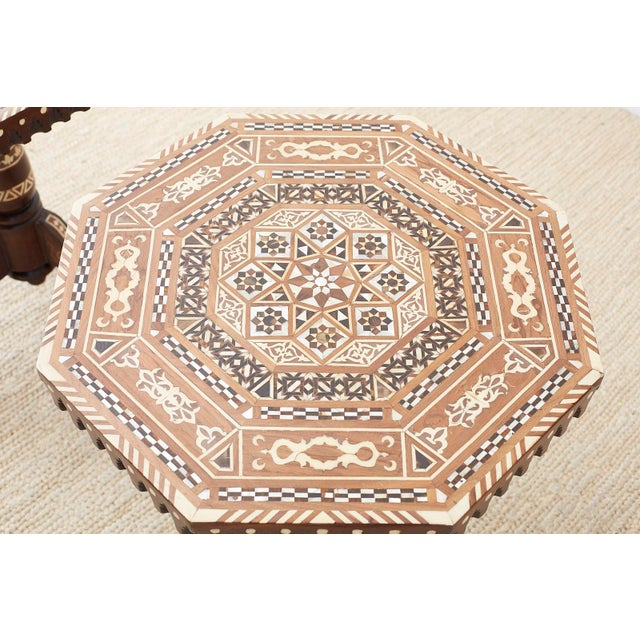 Wood Pair of Middle Eastern Moorish Inlaid Drink Tables For Sale - Image 7 of 13