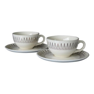 1960s Mid-Century Modern Atomic Starburst Pattern Tea Cups and Saucers - Set of 2 For Sale