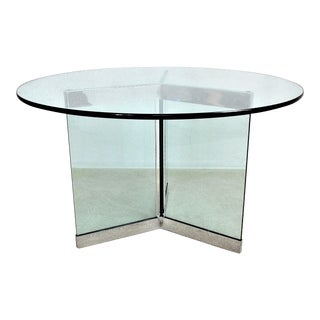 Leon Rosen for Pace Center Foyer or Dining Table Glass and Chrome Base With Thick Round Glass Top Mid Century Modern MCM Millennial