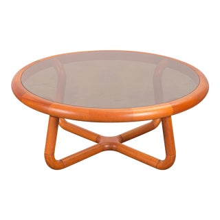 Smoky Round Glass Sculptural Coffee Table for Uldum For Sale
