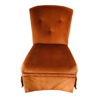 Orange Velvet Slipper Chair