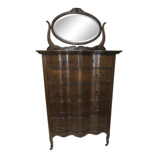 1900s Traditional Oak Highboy Dresser With Mirror For Sale