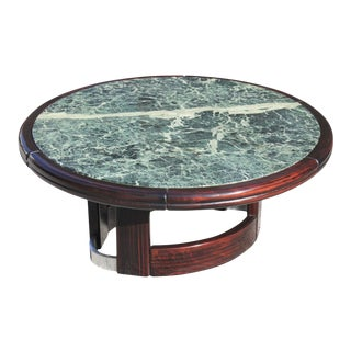 French Art Deco Macassar Ebony Round Coffee Table With Green Marble Top For Sale