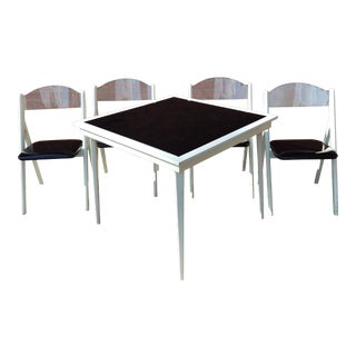 Rare 1950s Vintage Stakmore Folding Table & Chairs - 5 Pieces For Sale