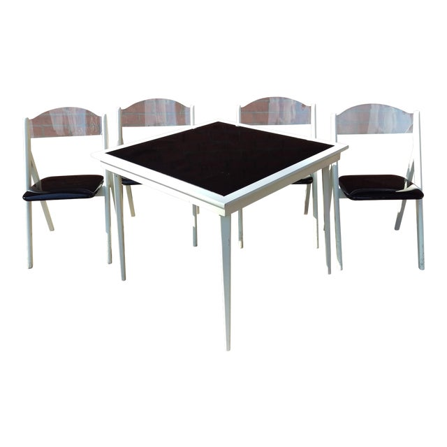 Rare 1950s Vintage Stakmore Folding Table Chairs 5 Pieces