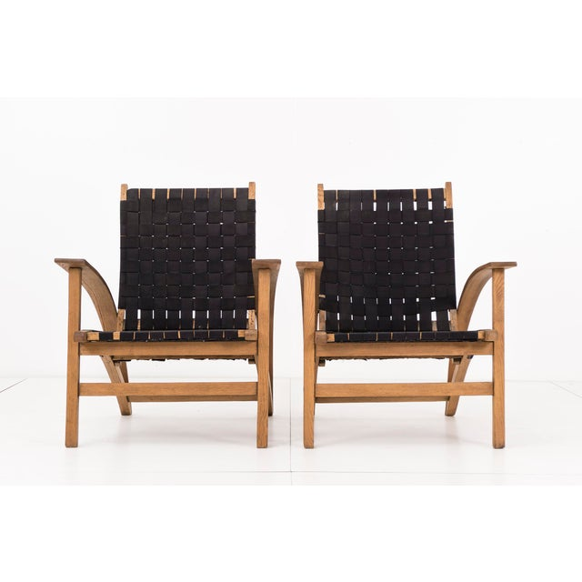 "Pair of snowshoe style chairs by architect Carl Koch for Vermont Tubbs. The ""Sno-Shut"" chairs is hand made from bent..."