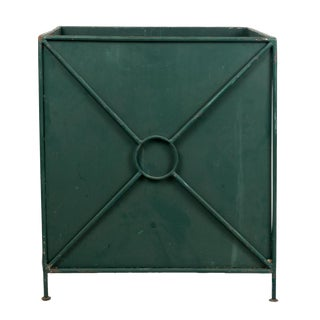 Vintage Dark Green Metal French Planter