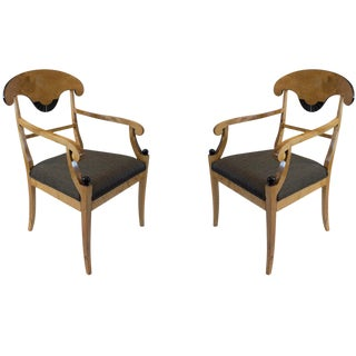Birch Hand-Carved and Ebonized Biedermeier Dining Chairs For Sale