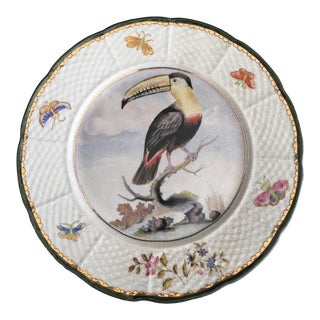 Chinoiserie Toucan Bird Flowers and Butterflies Plate For Sale