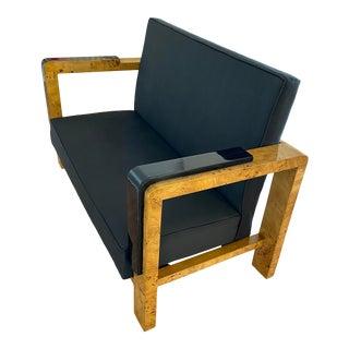 1930s Art Deco Burl Wood Case Loveseat Apartment Sofa For Sale