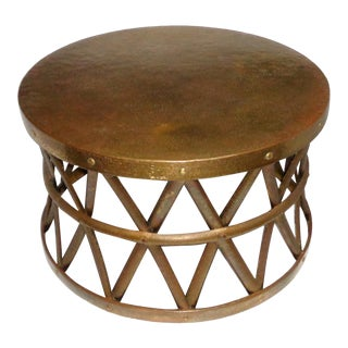 Vintage Hammered Brass Drum Coffee/Side Table For Sale