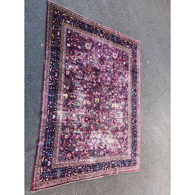 Large Early 20th Century Antique Persian Distressed Handmade Rug For Sale - Image 12 of 12
