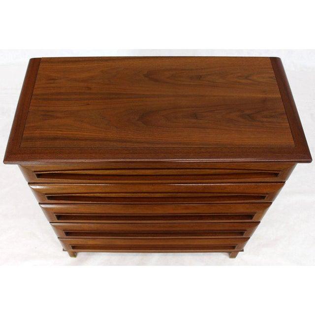 Sculptural Thick Carved Solid Walnut Panels Design 5-Drawer High Chest Dresser For Sale - Image 9 of 13