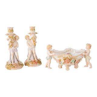 Voigt Brothers Sitzendorf Porcelain Cherub Bowl and Candlesticks - Set of 3 For Sale