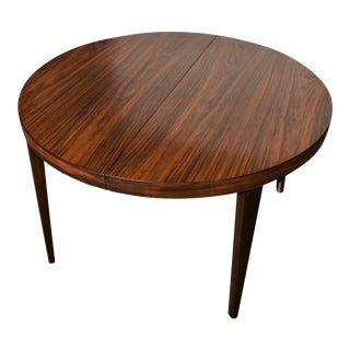 Original Danish Round Rosewood Table One Leaf For Sale