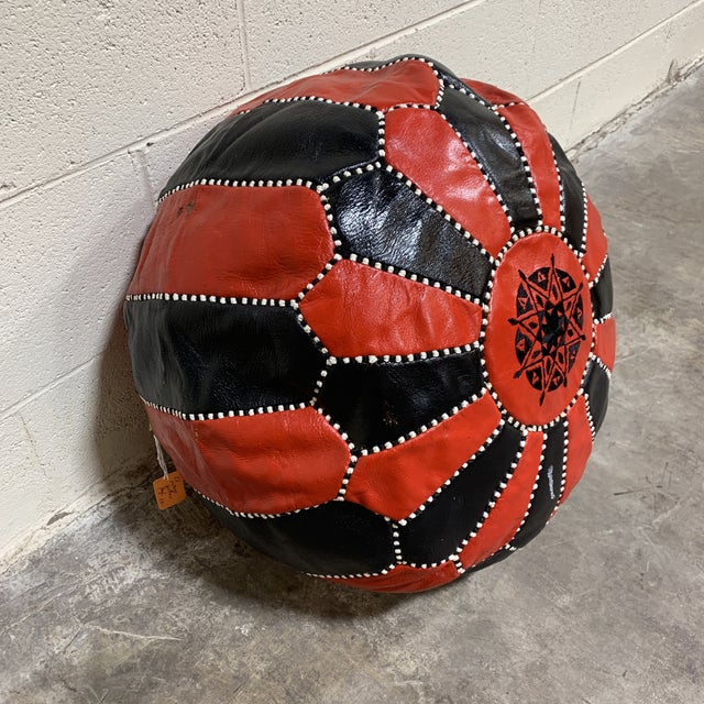 Islamic Black & Red Leather Moroccan Pouf For Sale - Image 3 of 9