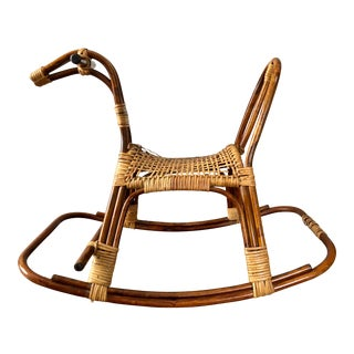 Mid Century Swedish Rattan Wicker Rocking Horse For Sale