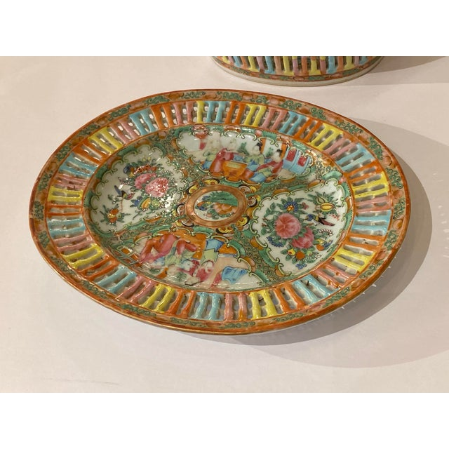 Rose Medallion Pierced Bowl and Under Plate For Sale - Image 10 of 13