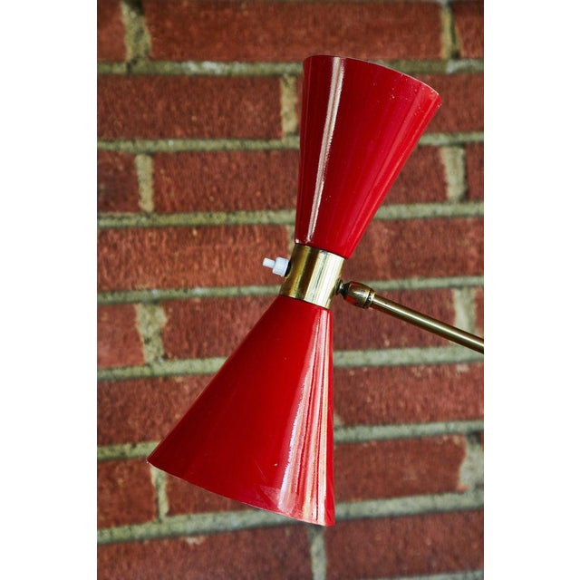 1950s 1950s Vintage French Red Articulating Floor Lamp For Sale - Image 5 of 10