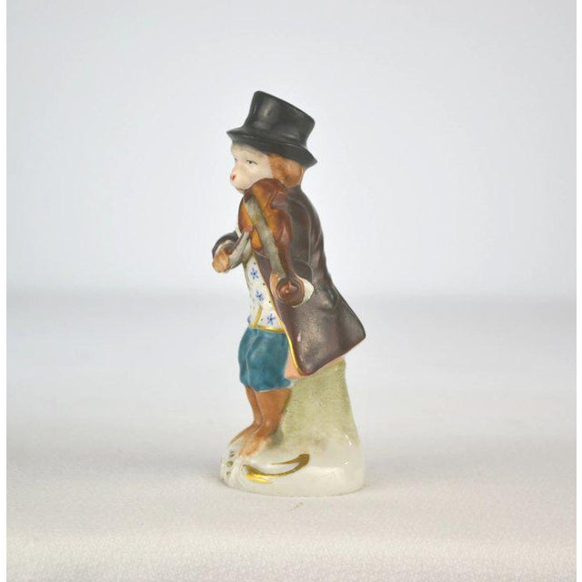 Figurative Antique Porcelain Monkey Musician, from Germany, Brown Coat For Sale - Image 3 of 8