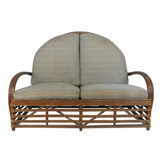 1940s Vintage Arch Top Rattan Settee by Heywood Wakefield For Sale