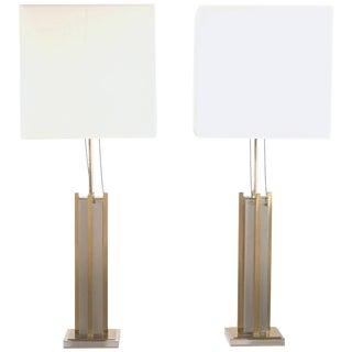 Pair of Gaetano Sciolari Brass and Chrome Lamps, 1970s For Sale