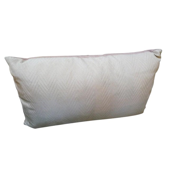 Vintage Herringbone Pale Pink Pillow For Sale
