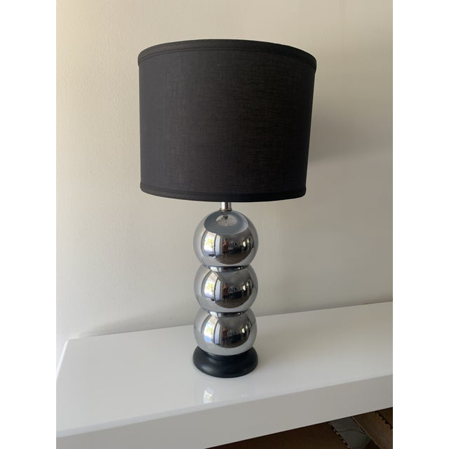 1970s Silver Chrome Stacking Ball Table Lamp in the Manner of George Kovacs For Sale - Image 11 of 11