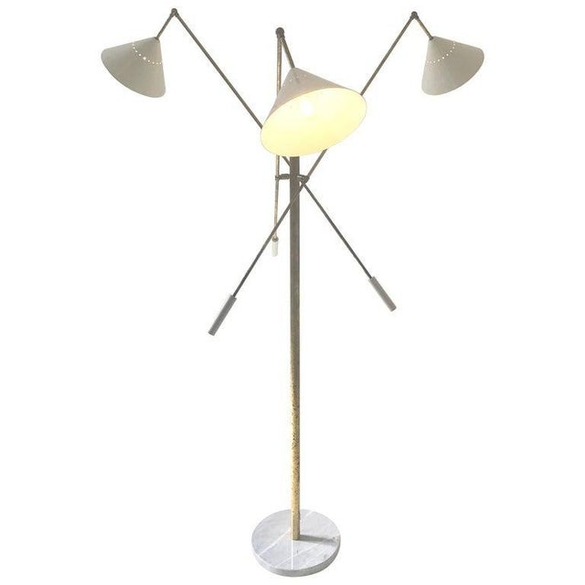 Italian mid-century style floor lamp adjustable three-arm Conical shades white, Carrara marble base, arms and body made of...