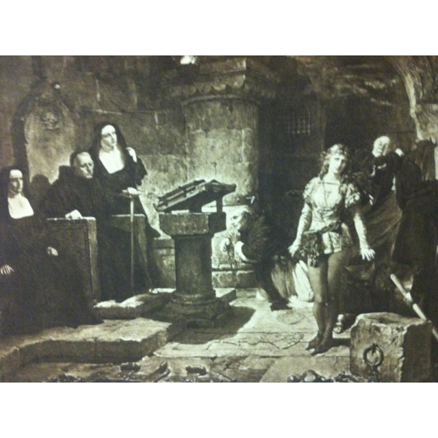 """English Vintage Print on Paper, """"The Trial"""" -- Artist Unknown, Circa 1900 For Sale - Image 3 of 4"""
