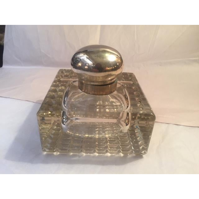 Transparent 1900s English Inkwell With Sterling Mounts For Sale - Image 8 of 8