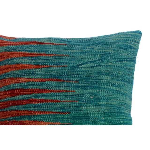 """Devon Blue/Rust Hand-Woven Kilim Throw Pillow(18""""x18"""") For Sale - Image 4 of 6"""