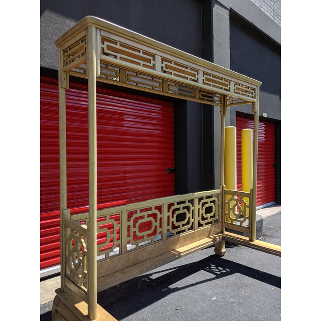 Chippendale Fretwork Ming Platform Lacquered King Size Canopy Bed For Sale In Dallas - Image 6 of 13