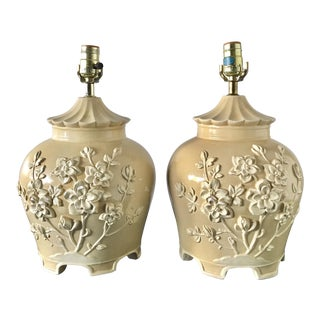 Pagoda Plaster Lamps, Pair - a Pair For Sale