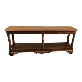 Traditional Cherry Console Table With Inlay Wood Detail For Sale